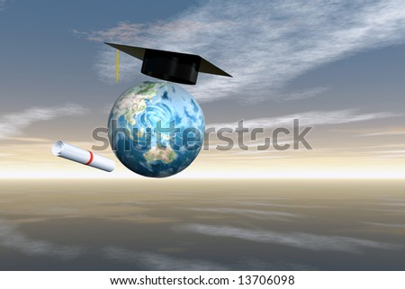 Graduation cap and diploma with Earth and sky map courtesy nasa
