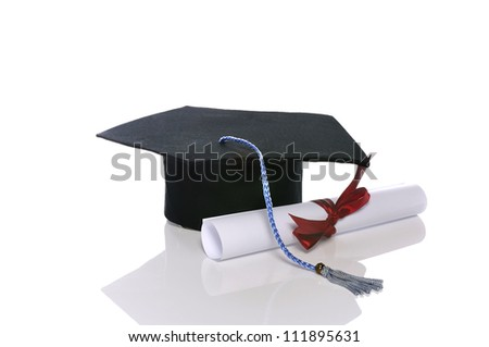 Graduation cap and scroll isolated over white background
