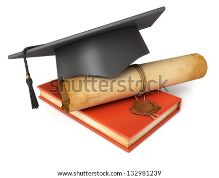 Graduation cap, diploma and red book. Conceptual illustration. Isolated on white background. 3d render