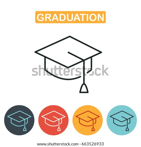Graduation cap line icon. Education icon for web and graphic design. Line style logo.  illustration.