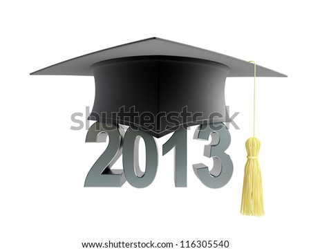 graduation cap 2013 on a white background