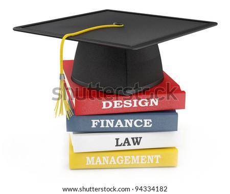 Graduation cap on books. Education concept