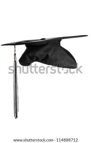 Graduation cap on the white background