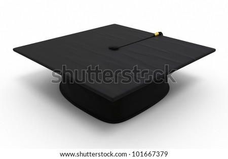 Graduation cap render (isolated on white and clipping path)