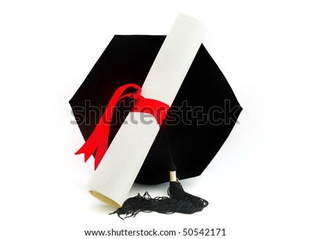 Graduation cap, tassel, and diploma with red ribbon