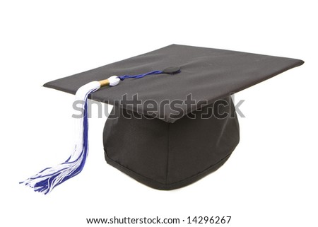 Graduation cap with blue white tassel isolated against white background