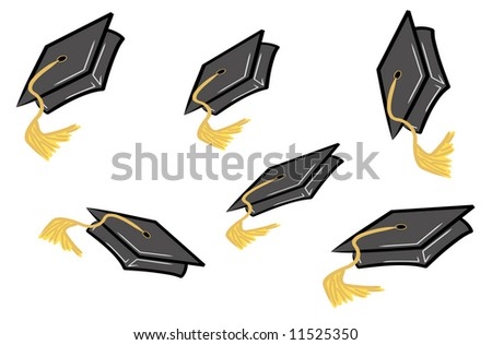 graduation caps or hats being tossed in the air