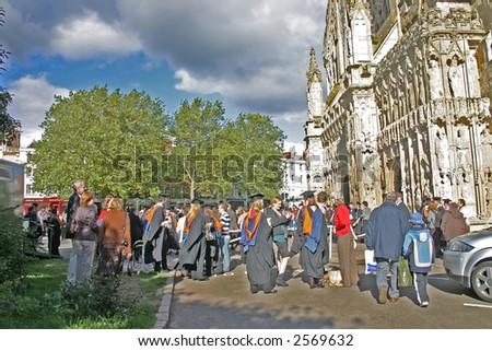 Graduation Ceremony Outside Exeter Cathedral in Devon England