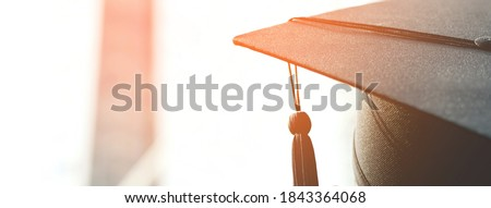 Photo of  graduation, close up student hats in during commencement success graduates of the university, Concept education congratulation. copy space banner.