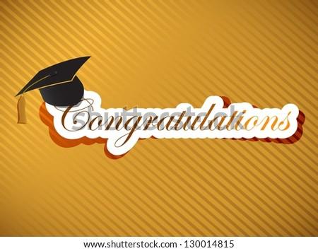 graduation - Congratulations lettering illustration design on a gold background