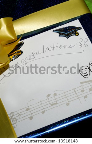 Graduation congratulations note card with musical notes.