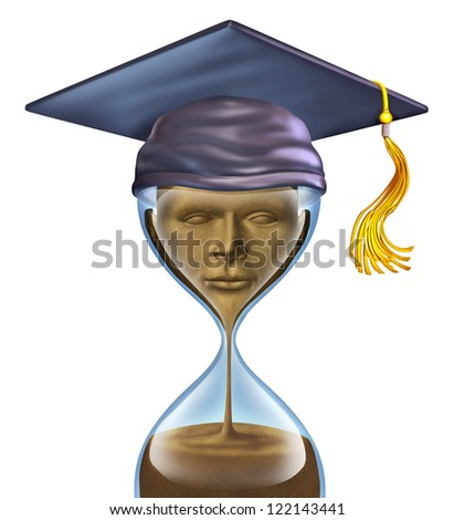 Graduation Countdown with a mortar cap on top of an hour glass and sands of time in the shape of a student head as an education symbol of  completion of studies in school as  university or college.