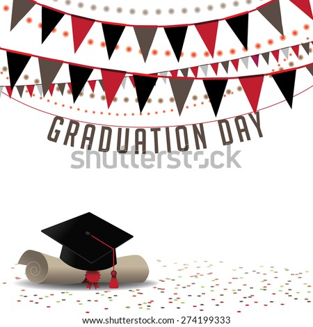 Graduation Day background royalty free stock illustration for greeting card, ad, promotion, poster, flier, blog, article, social media, marketing