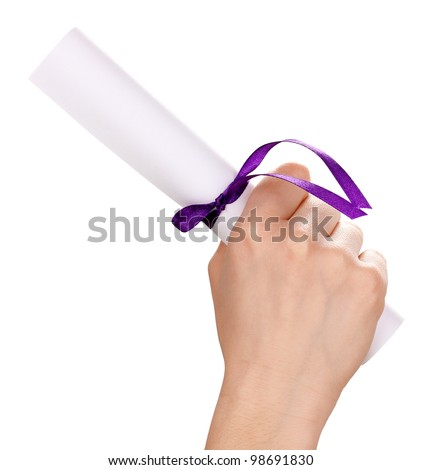 Graduation diploma in hand isolated on white