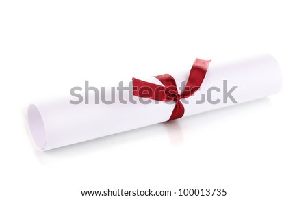 Graduation diploma tied with ribbon isolated on white