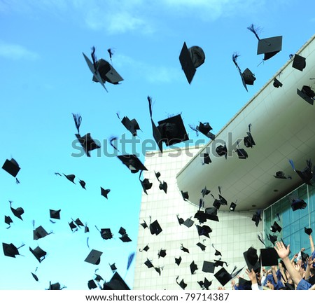 Graduation - flying hats in the air