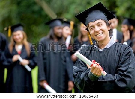 graduation group of students with a man leading smiling