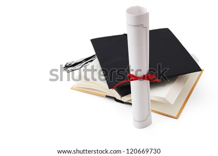 Graduation hat, book  and diploma
