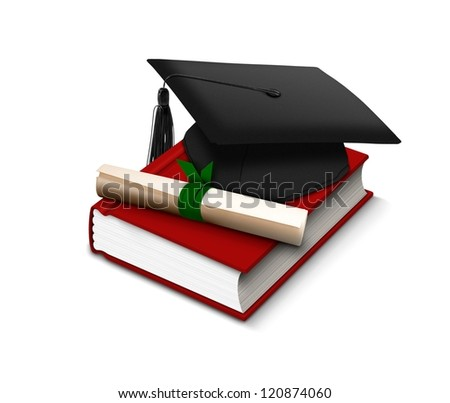 Graduation hat, scroll and red book