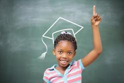 Graduation hat vector against pupils raising hand in classroom