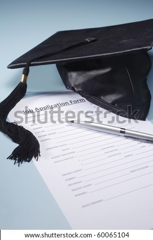 Graduation hat with application form.