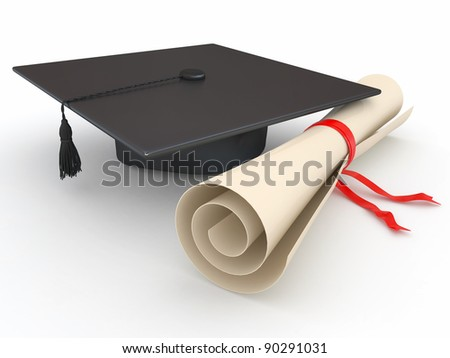 Graduation. Mortarboard and diploma on white background. 3d