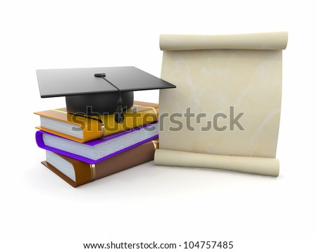 Graduation. Mortarboard, diploma and books. Space for text. 3d