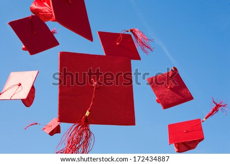 Graduation Mortarboards thrown in Air.