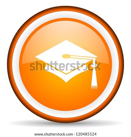 graduation orange glossy circle icon on white background