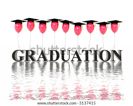 graduation poster (hires 3D image) - stock photo
