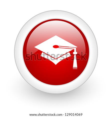graduation red circle glossy web icon on white background