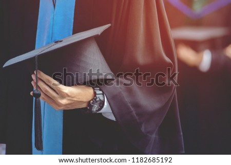 graduation,Student hold hats in hand during commencement success graduates of the university,Concept education congratulation.Graduation Ceremony,Congratulate the graduates in University. soft focus