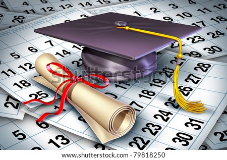 Graduation time represented by a college or university graduate cap and diploma resting on a floor of calendar pages showing the time it rtakes to complete a students degree.