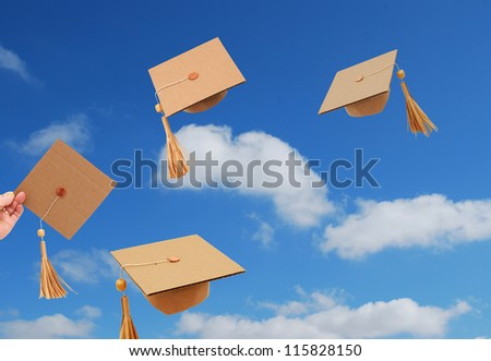 Graduation tossing hats