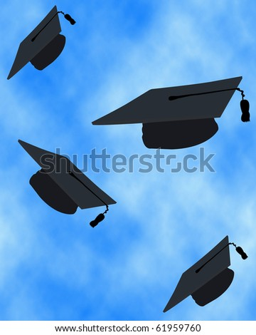 Graduation tossing of the caps in the sky