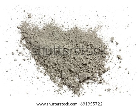 Grady cement powder isolated on white. View from above