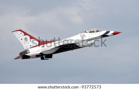 GRAF IGNATIEVO, BULGARIA - JUNE 25: Members of the USAF Thunderbirds Airshow perform aerial maneuvers on June 25, 2011 in Graf Ignatievo, Bulgaria.