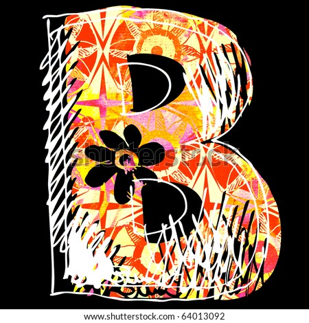 letter b graffiti. hand drawn letter B