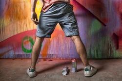 graffiti artist in action