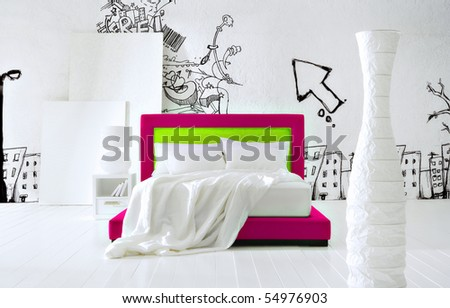 graffiti bedroom - stock photo