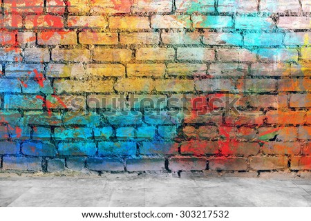 Graffiti brick wall, colorful background