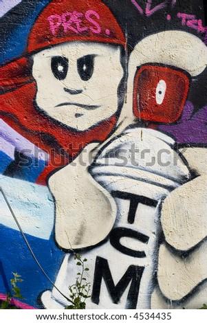 graffiti characters spray cans. stock photo : Graffiti