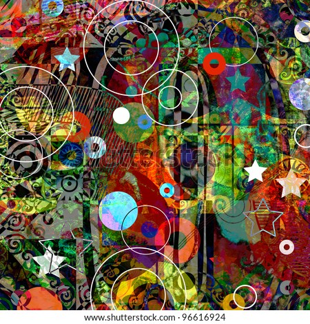 graffiti collage, abstract digital painting