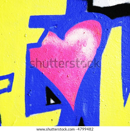 Graffiti love heart. abandon