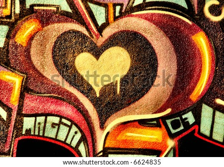 stock photo : Graffiti Love heart in neutral color