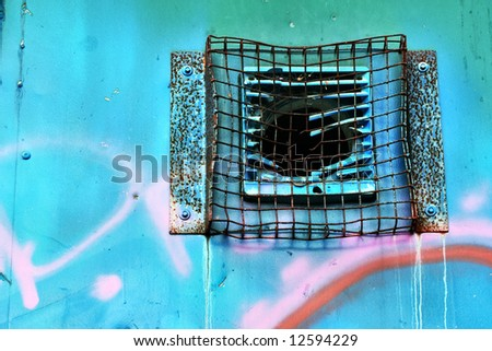 Graffiti Metal Grid Vent Broken