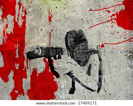 Graffiti of man under the mask holding gun preparing to fire