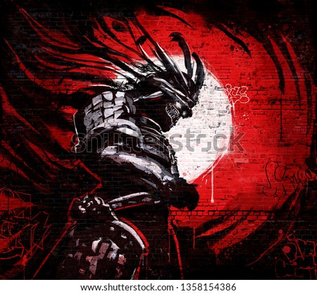 Graffiti on a brick wall of japanese demon in a mask with glowing eyes on the background of a bloody sunset  ストックフォト ©