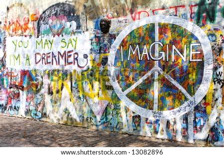 (Wonderful) Street Art - Page 3 Stock-photo-graffiti-on-lennon-s-wall-prague-czech-republic-czechoslovakia-central-europe-13082896