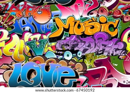 Graffiti Backgrounds on Graffiti Seamless Background  Urban Art Texture Stock Photo 67450192
